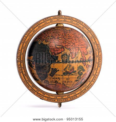 Old Vintage Wooden World Globe