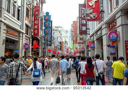 Guangzhou,china - May,2,2015: Peoples Shopping In Holiday,here Is The Famous Place Name's Shangxiaji