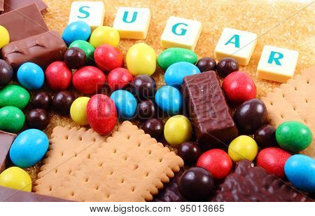 A Lot Of Sweets, Brown Sugar And Word Sugar, Unhealthy Food