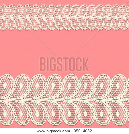 Two Lacy Borders On Pink Background