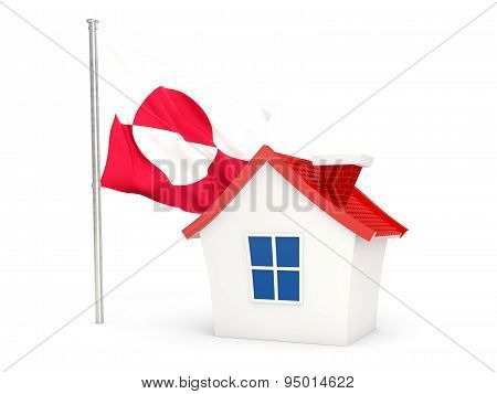 House With Flag Of Greenland