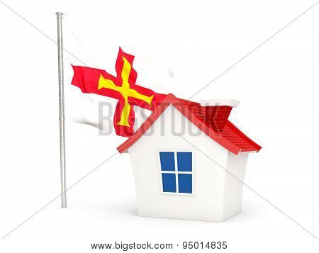 House With Flag Of Guernsey