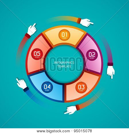 Abstract Vector 5 Steps Infographic Template In Flat Style For Layout Workflow Scheme
