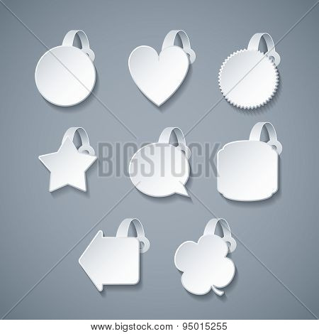 Vector Blank White Wobbler Templates Set In 3D Style