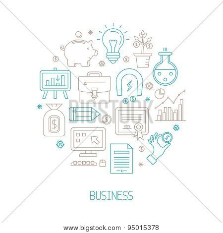 Set Of Vector Business Or Finance Icons And Concepts In Mono Thin Line Style