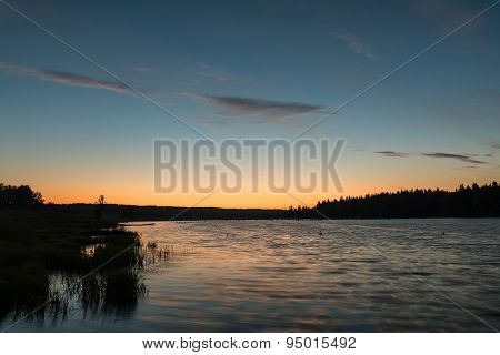 Lake Sunset Sky Clouds