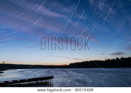 Lake Sunset Sky Clouds Tracks