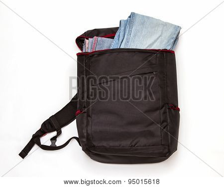 Black Backpack Standing On White Background.