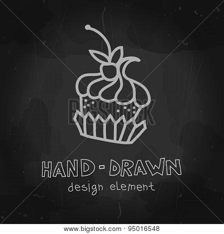 Vector cake. Hand drawn sweet mockup. Chalkboard design for cafe