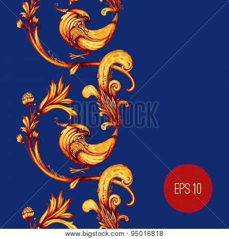 Birds and flowers abstract vector seamless pattern design. Blue