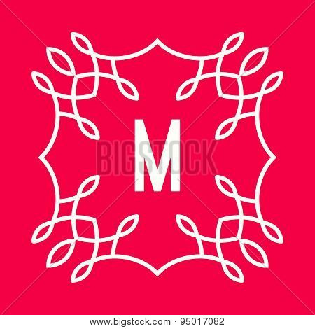 Letter M logo icon design template elements. Floral monogram.