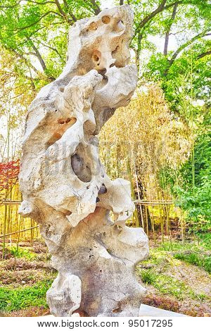 Typical Chinese Garden,  Park With Bizarre Rocks. Beijing.
