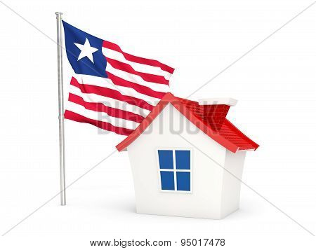 House With Flag Of Liberia