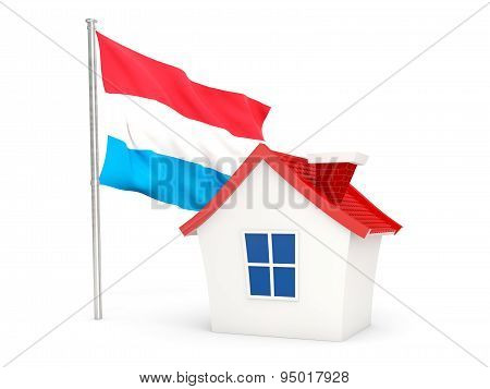 House With Flag Of Luxembourg