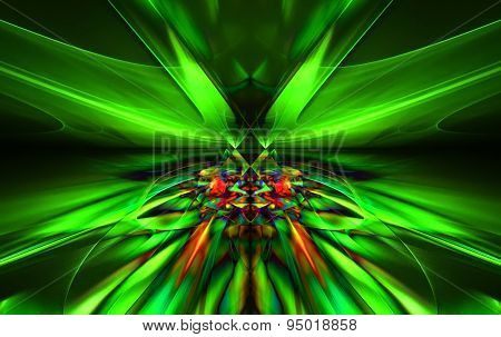 Shining a fantastic green line in a furious motion symmetrically go beyond the horizon. Fractal art