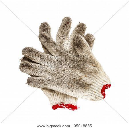 Old Work Gloves On White Isolate With Clipping Paths.