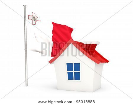 House With Flag Of Malta