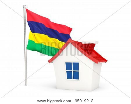 House With Flag Of Mauritius