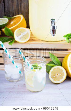 Homemade lemonade in mason jars