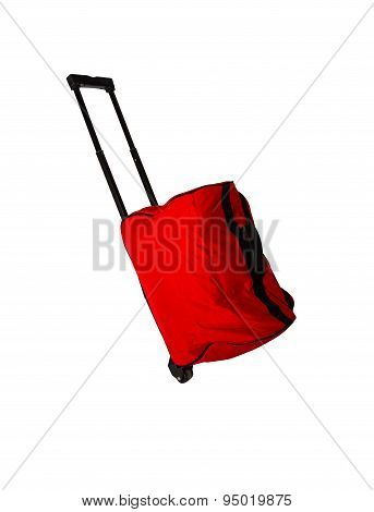 Red Baggage On White Isolate With Clipping Path.