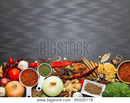 Spices And Herb For Cooking And Background.