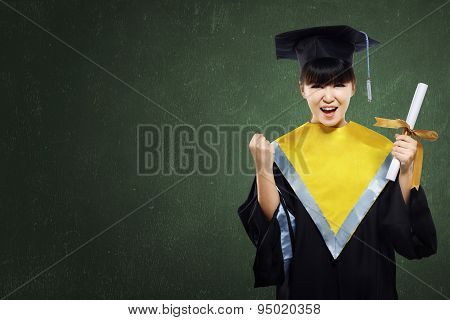 Happy Graduated Student Girl With Scroll