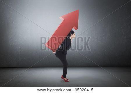 Asian Young Business Woman Carry Big Arrow