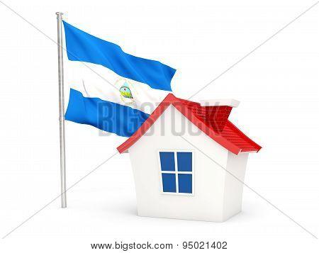 House With Flag Of Nicaragua