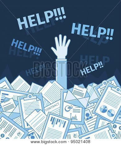 Businessman or student under a lot of document and call for help. Linear flat vector illustration.