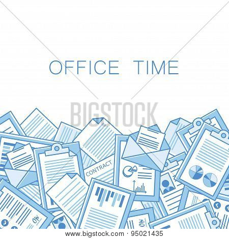 Stressful in office with too many stack of papers, overload of works.