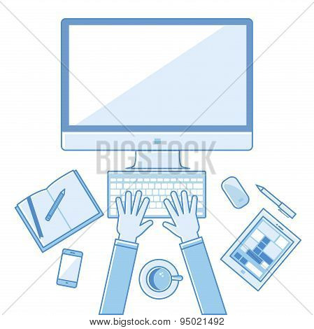 Flat linear design vector illustration concepts  workplace of education, online learning, work. with