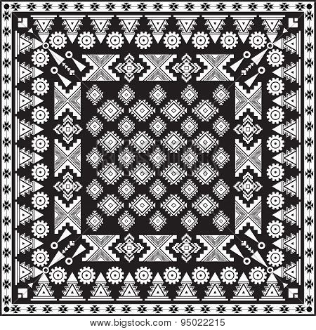 Black Bandana Print . Vector Background . Tribal Ethnic Theme .