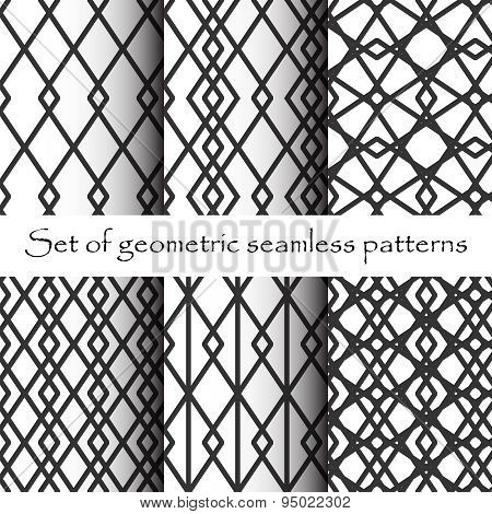 Black And White Geometric Seamless Patterns. Pattern Swatches . Vector Background .