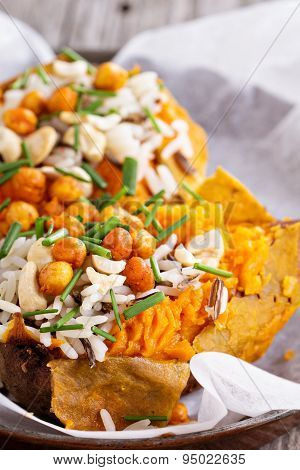 Baked stuffed sweet potato with rice