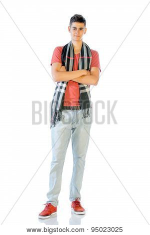Young Man In Casual Clothes Isolated On White