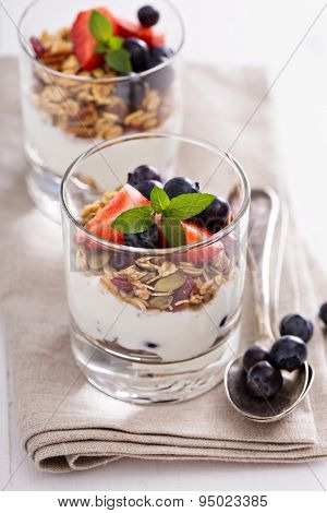 Breakfast parfait with homemade granola