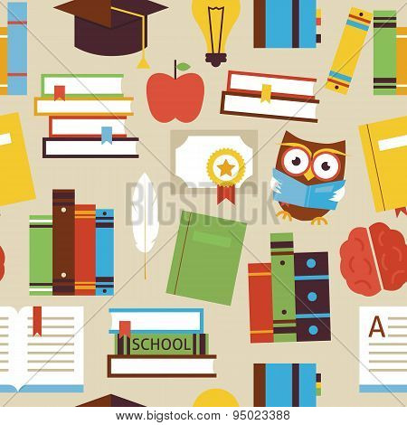 Flat Seamless Pattern Education Books And Knowledge Objects Over Beige
