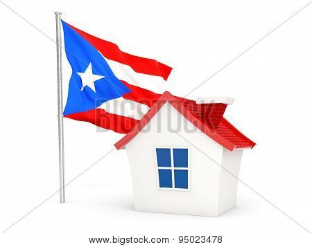 House With Flag Of Puerto Rico