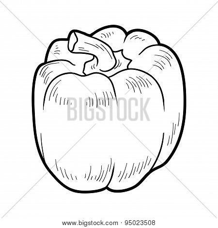 Coloring Book: Fruits And Vegetables (pepper)