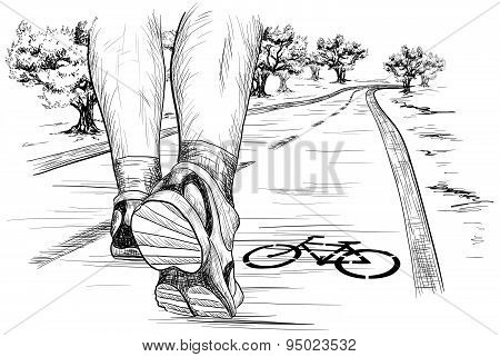 sketch of feet of a runner running (Walking) in marathon