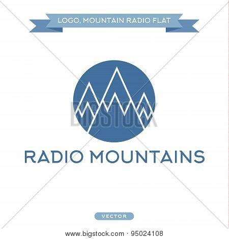 Radio signals, scale mountains, vector icon flat style