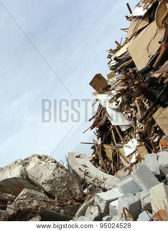 Wood,concrete Rubble And Twisted Metal Skyline On A Demolition Site