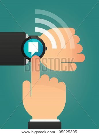 Hand Pointing A Smart Watch With A Tooltip
