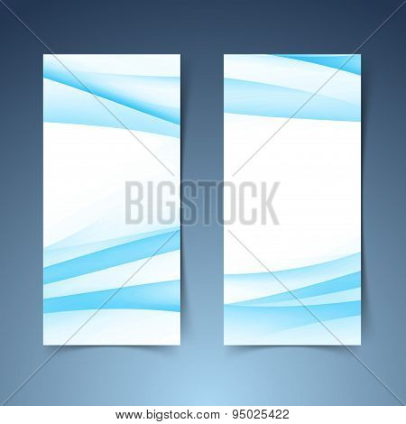 Vertical Halftone Gradient Blue Banner Set