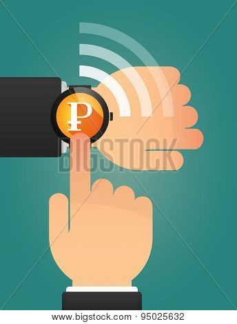 Hand Pointing A Smart Watch With A Ruble Sign