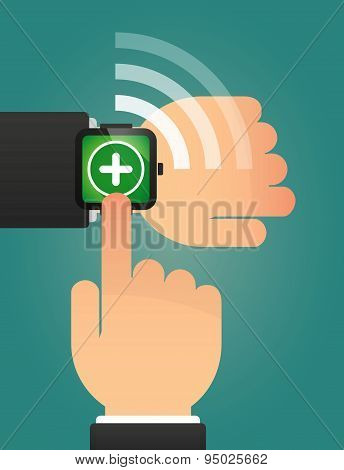 Hand Pointing A Smart Watch With A Sum Sign