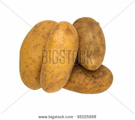 Potato For Cooking On White Isolate Background Winth Clipping Path.