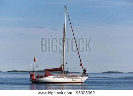 Russia, Kandalaksha - June 30, 2015: Regatta Of Cruiser Yachts. Judging Boat Yacht