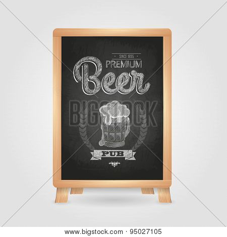 Poster With Beer In Mag. Chalk Drawing On Blackboard