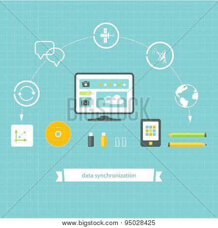 Data Storage and Synchronization Illustration